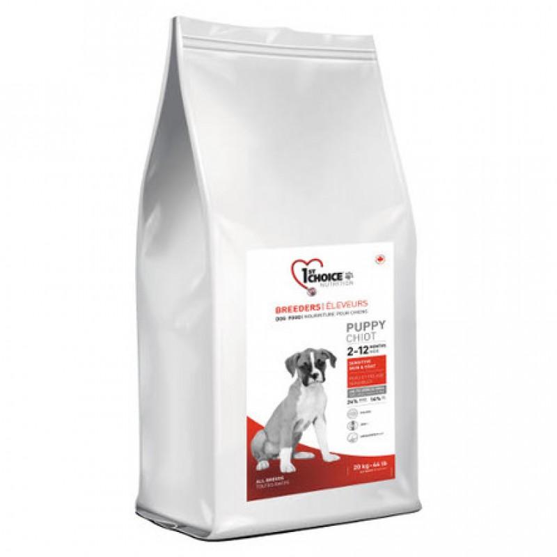 1st Choice Breeders Puppy Sensitive Skin & Coat Сухой корм для щенков всех пород с чувствительной кожей (с ягненком, рыбой и рисом), 20 кг