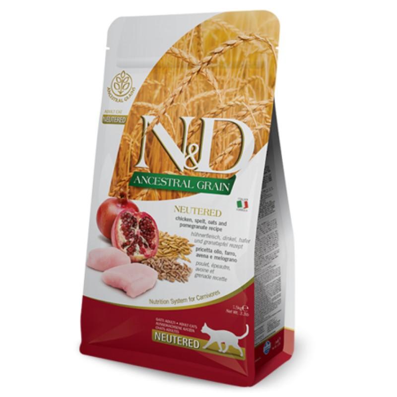 Farmina N&D LG для стерилизованных кошек (курица с гранатом), 1,5 кг
