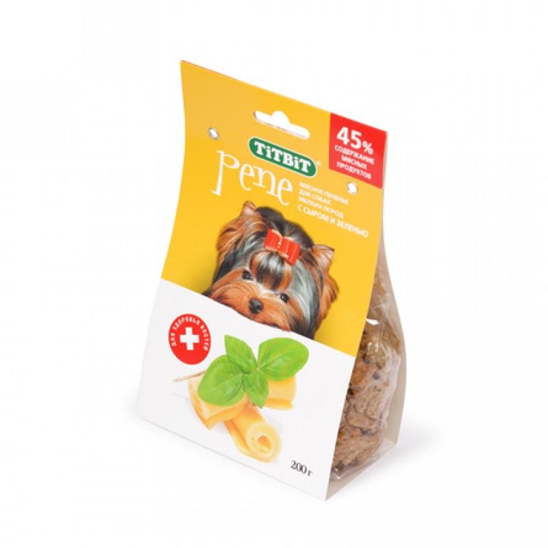 TiTBiT Pene Печенье для взрослых собак мелких и средних пород (с сыром и зеленью), 200 гр