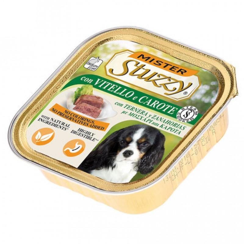 Mister Stuzzy Dog Кусочки филе в паштете для взрослых собак всех пород (с телятиной и морковью), 150 гр