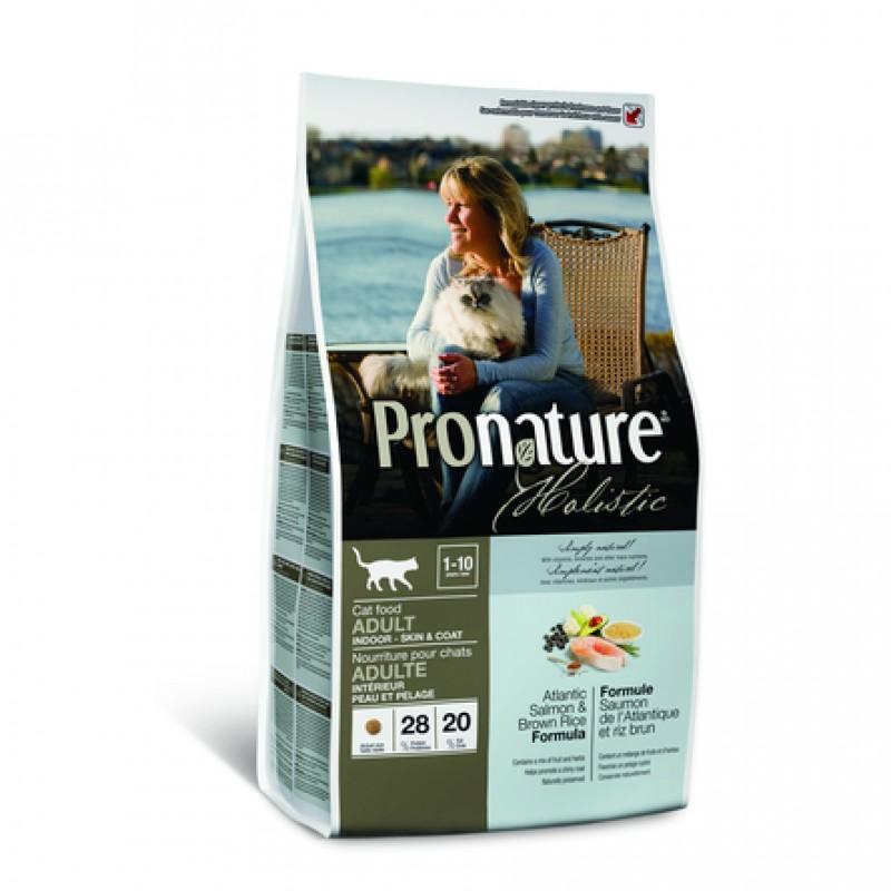 Pronature Holistic Adult Indoor Сухой корм для взрослых домашних кошек с чувствительной кожей и шерстью (с лососем и рисом), 2,72 кг