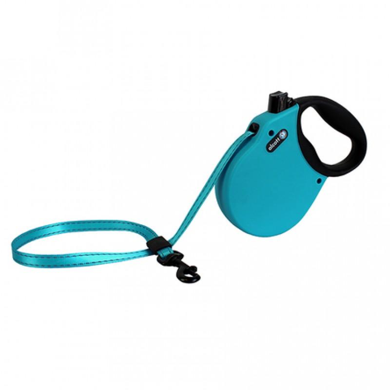 Alcott Adventure M Поводок-рулетка для собак до 30 кг, лента, голубая