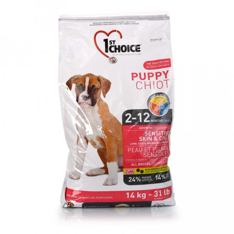 1st Choice Puppy All Breeds Sensitive Skin&Coat Сухой корм для щенков всех пород с чувствительной кожей и шерстью (с ягненком, рыбой и рисом), 14 кг