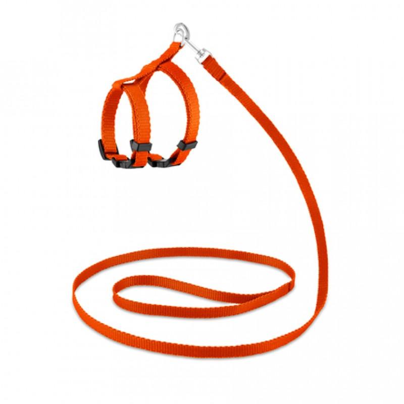 Saival Classic Колор Комплект повод + шлейка для кошек XXS  (оранжевая)