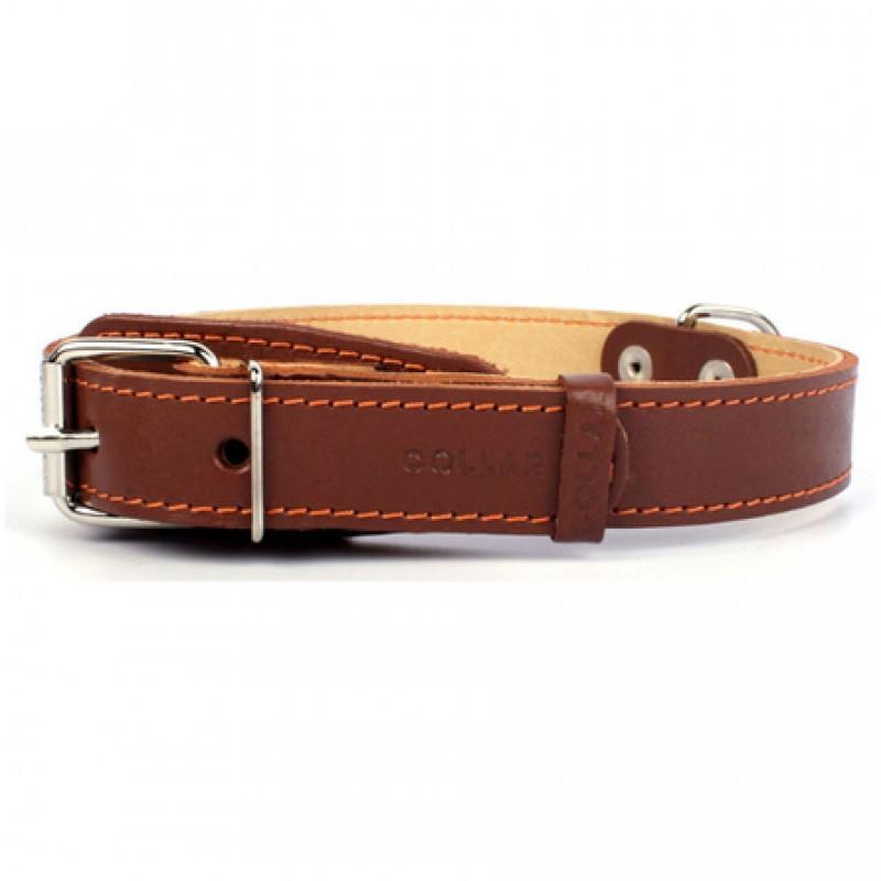 CoLLaR Ошейник для собак двойной, ширина 3,5 см, длина 48-63 см, коричневый