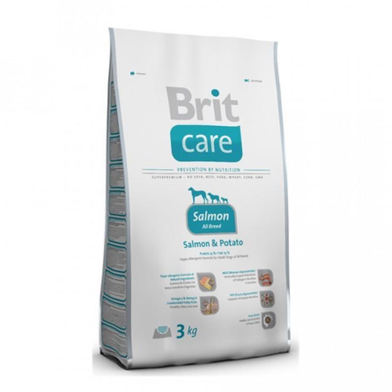 Brit Care Salmon All Breed Беззерновой сухой корм для взрослых собак всех пород (с лососем), 3 кг