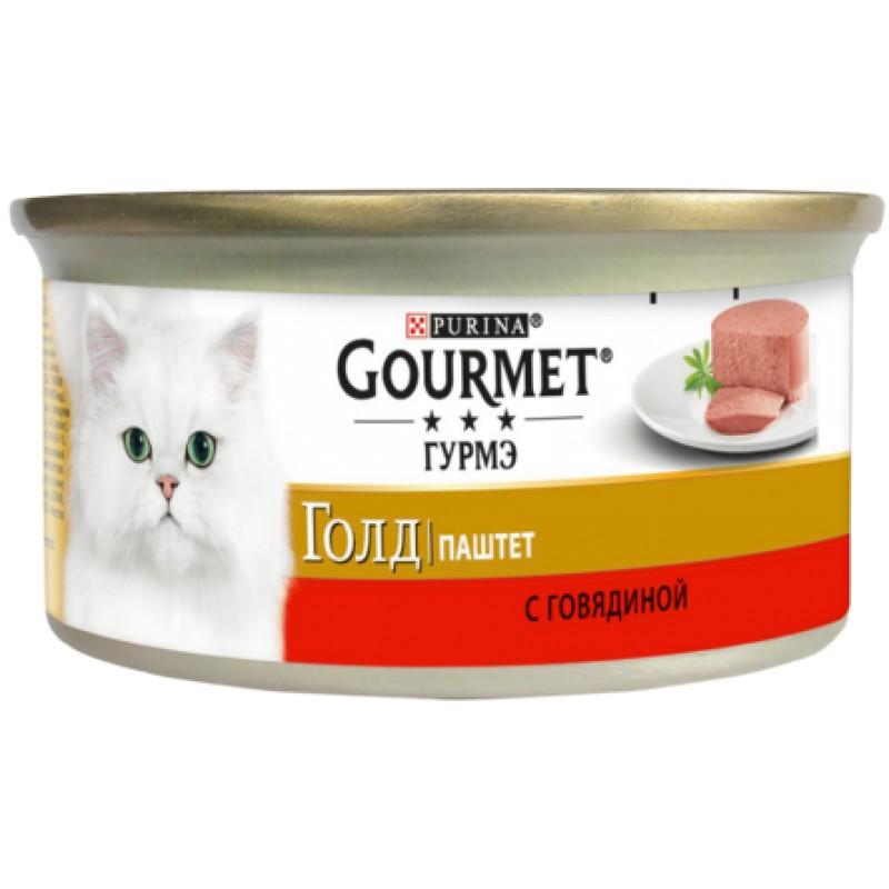 Gourmet Gold Паштет для взрослых кошек (с говядиной), 85 гр
