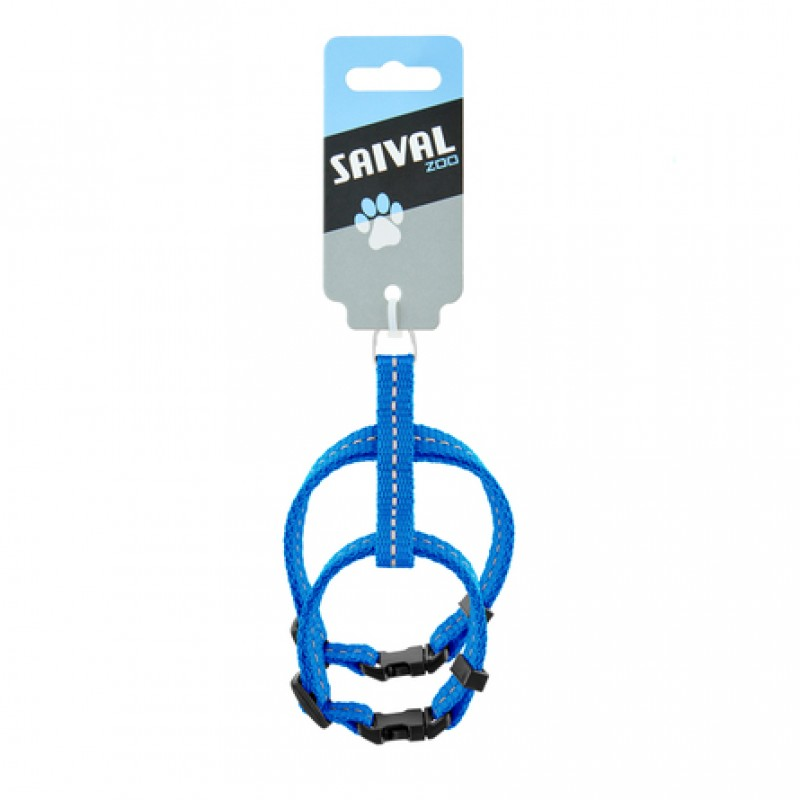 Saival Classic Рефлекс Шлейка для кошек XXS (синяя)