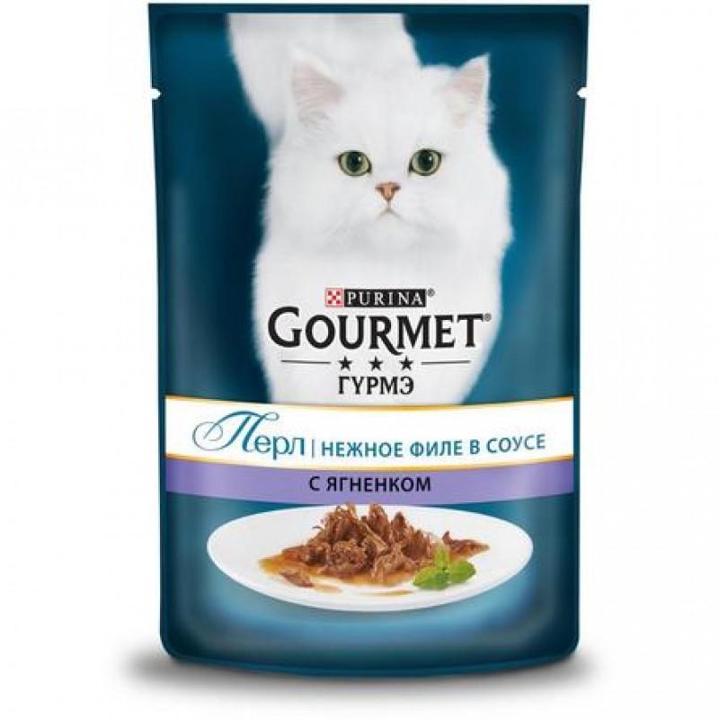 Gourmet Perle Кусочки мясного филе в соусе для взрослых кошек (с ягненком), 85 гр