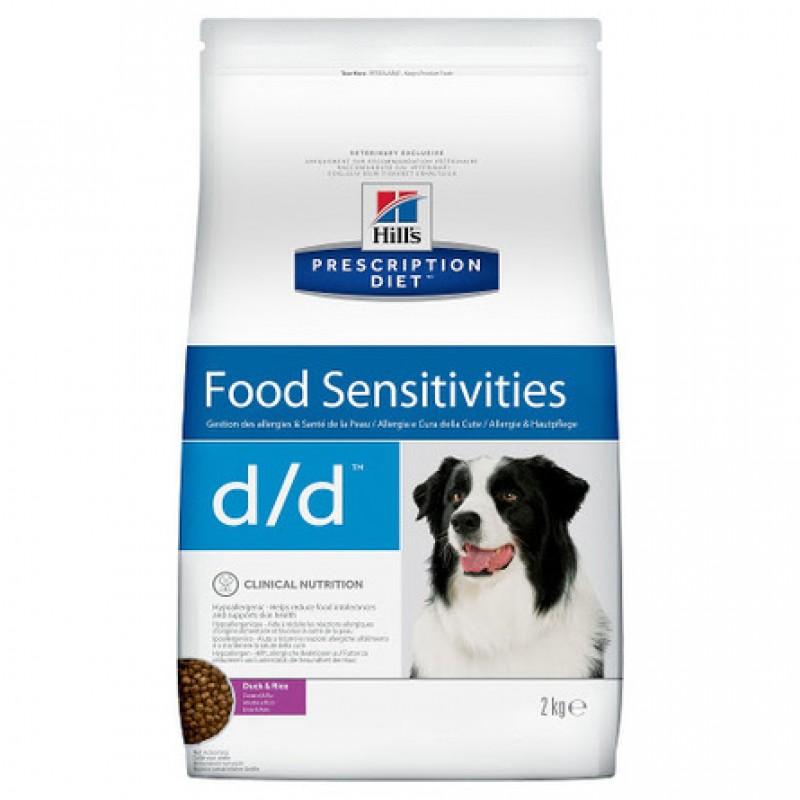 Hill's Prescription Diet d/d Food Sensitivities Сухой лечебный корм для собак при заболеваниях кожи и аллергиях (с уткой и рисом), 2 кг