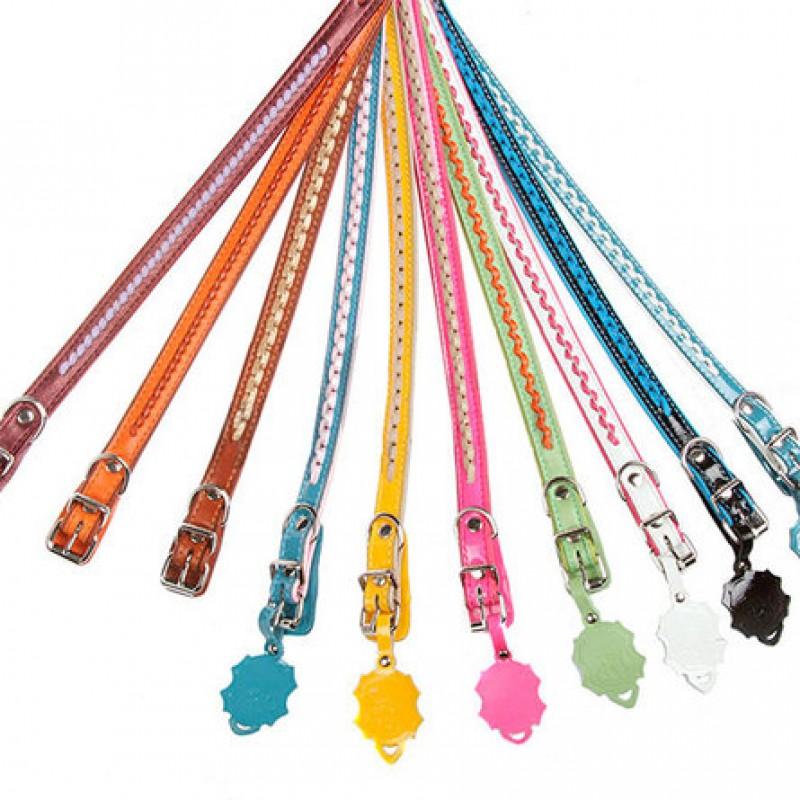 Dogger Ошейник для собак, подвернутый, с плетением, цветной, ширина 1,5 см, длина 25-45 см