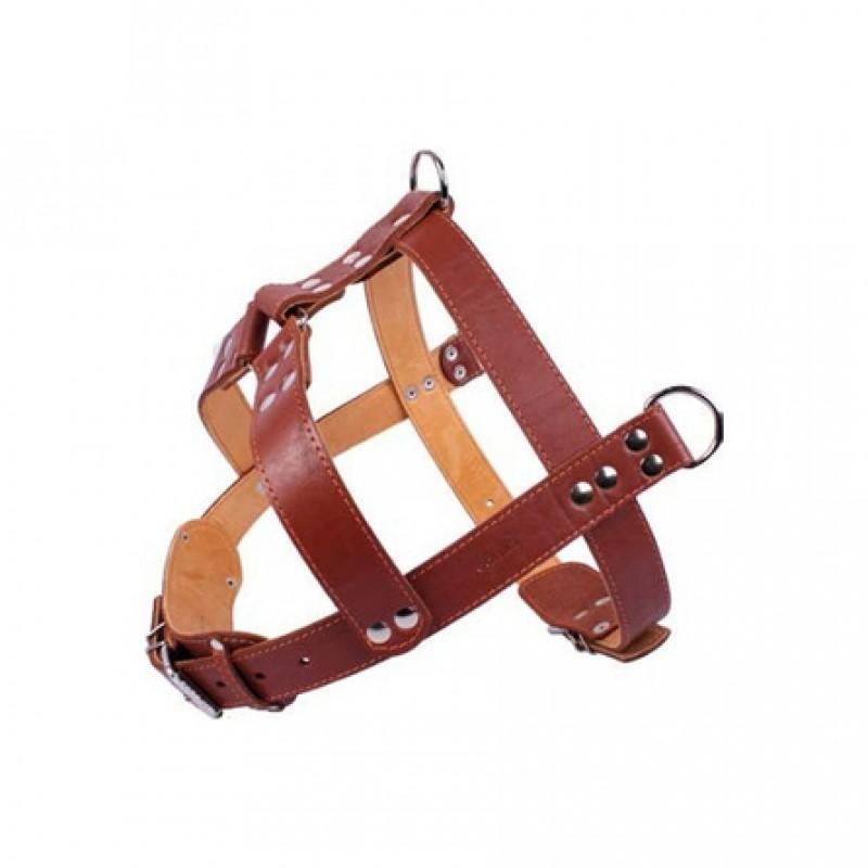 Collar Шлейка двойная тяговая для собак, ширина 3,5 см, обхват шеи 82-95 см, обхват груди 88-105 см, коричневая