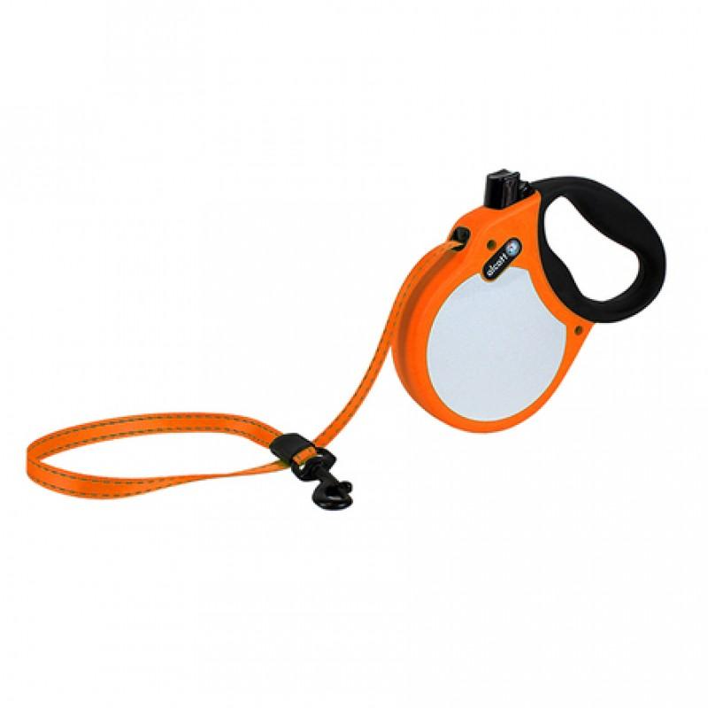 Alcott Visibility M Поводок-рулетка для собак до 30 кг, лента, оранжевая