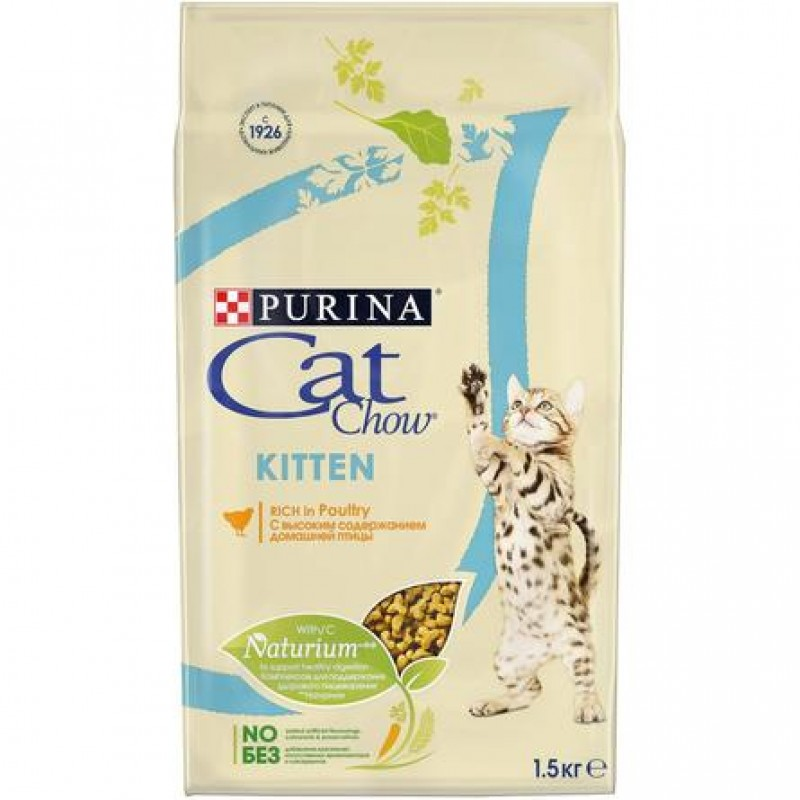 Cat Chow Kitten Сухой корм для котят (с курицей), 1,5 кг