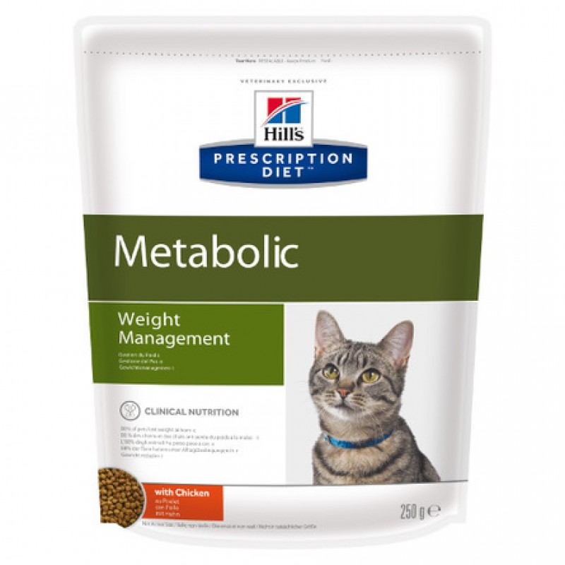 Hill's Prescription Diet Metabolic Weight Management Сухой лечебный корм для кошек для контроля избыточного веса (с курицей), 250 гр
